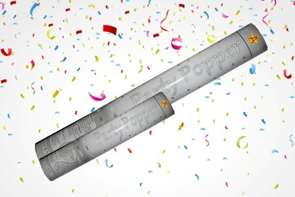 Κανονάκια με λευκό χαρτί & ασημί κομφετί ( 40 Cm / 80cm)