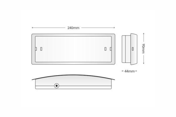 Διαστάσεις Φωτισμός Ασφαλείας Slim LED GR-8-leds