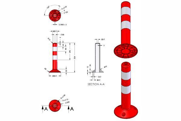 Διαστάσεις Πλαστικό κολωνάκι Σήμανσης 45cm