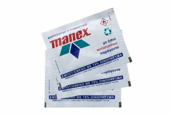 Αλκοολούχα υγρομάντηλα Manex (10 τεμ)